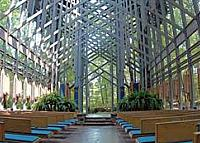 Interior view of Thorncrown Chapel